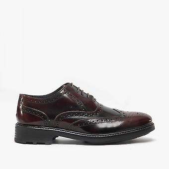 Roamers Silas Mens Cuir Brogue Lace Up Oxford Chaussures Oxblood Hi-shine