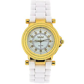 Zaza London Yellow Goldtone Crystal Dial White Bracelet Strap Ladies Watch Z01L