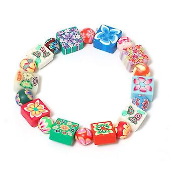 The Olivia Collection Kids Patterned Square Fimo Bead Bracelet