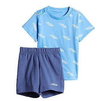 アディダス お気に入り 幼児キッズボーイズ Tシャツ&ショートサマーセット ブルー/ホワイト