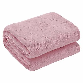 Solid color diamond-shaped lattice simple knitted blanket Cotton multi-purpose blanket