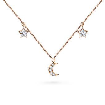 Necklace Mini Moon and Stars 18K Gold and Diamonds