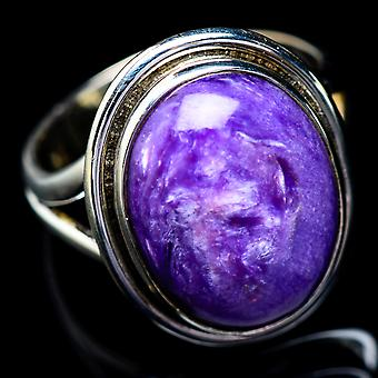 Charoite Ring Size 7.25 (925 Sterling Silver)  - Handmade Boho Vintage Jewelry RING5445