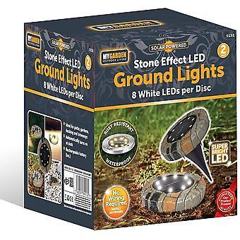 2 Pack LED Solar Power Ground Lights Floor Decking Outdoor Garden Lawn Path Lamp