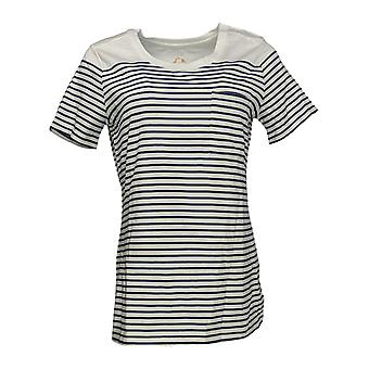 C. Wonder Women's Top Short Sleeve Striped Knit w/ Pocket White A277315