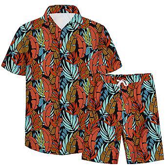 הגברים ' s 3d העלים דפוס 2-Pcs חולצה מזדמנים & מכנסיים קצרים