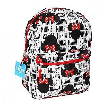 ディズニーミニーマウステキストと頭の上にプリントバックパック