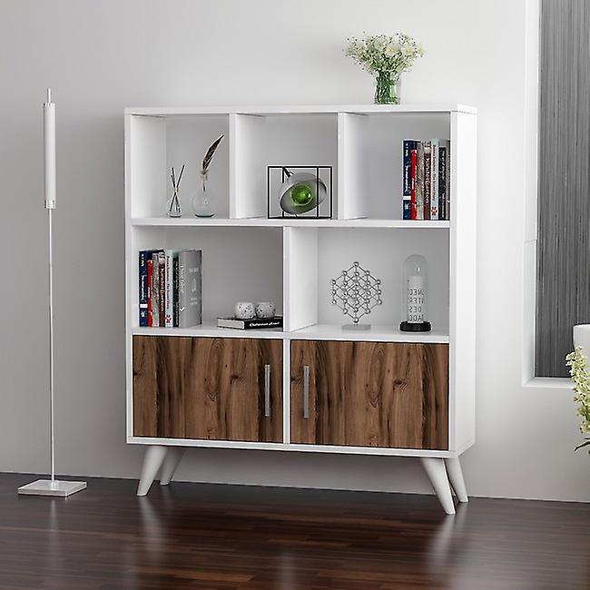 Libreria Ducky Color Bianco, Noce in Truciolare Melaminico 90x22x105 cm