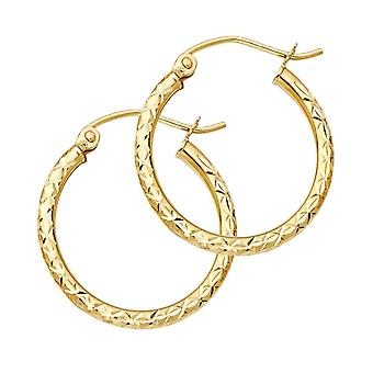 14k Yellow Gold Silk Sparkle Cut 1.5mm Round Tube Hoop Earrings 20mm Jewelry Gifts for Women