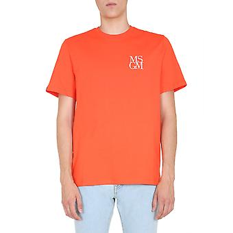 Msgm 2840mm23120709810 Männer's Orange Baumwolle T-shirt