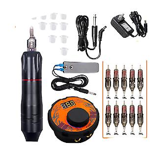 Professional Tattoo Machine Kit - Tattoo Power Supply Rotary Pen With Cartridges Needles For Permanent Makeup Tattoo