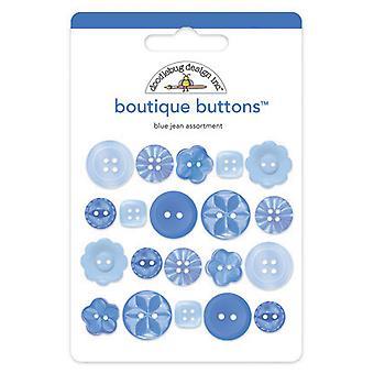 Doodlebug Design Blue Jean Boutique -painikkeet (20kpl) (2477)