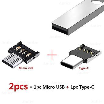 Usb Type-c Connector Micro Usb 2.0 Male To Female Otg Adapter Converter For Android (2pcs)