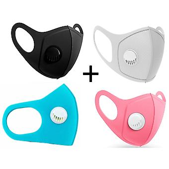 4x Face Mouth Mask with breathing valve, Black,Grey,Pink, Turquoise / Blue