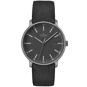 Junghans FORM A Titan Automatic Black Dial Leather Strap Men's Watch 027/2001.00