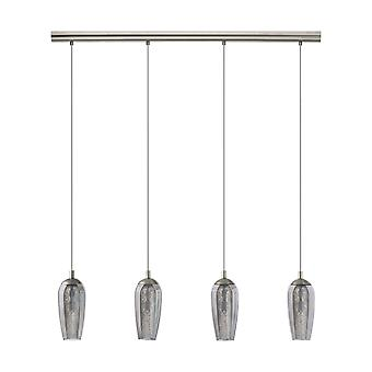 4 Light Ceiling Pendant Bar Satin Nickel with Smoked Glass Shades, G9