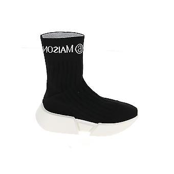 Mm6 Maison Margiela S59ws0152p3120h1532 Femmes-apos;s Blanc/noir Tissu Hi Top Sneakers