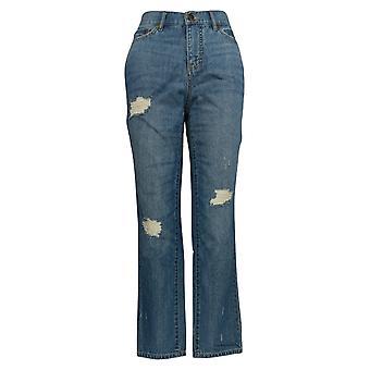Rachel Hollis Ltd Women's Jeans Lived-In Boyfriend Style Blue A354072