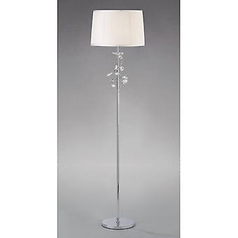 Willow Floor Lamp With White Shade 1 Bulb Polished Chrome / Crystal