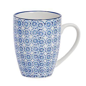 Nicola Spring Hand-Printed Tea and Coffee Mug - Japanese Style Porcelain Latte Mugs - Navy - 360ml