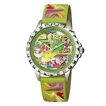 Rebel Women-apos;s RB122-4171 Dumbo Graffiti Lime-Green Dial Broded Leather Watch