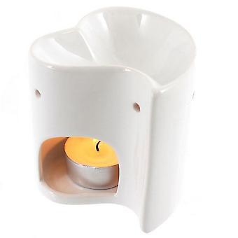 Something Different White Heart Ceramic Oil Burner