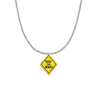 Maternity baby on board with stainless steel necklace