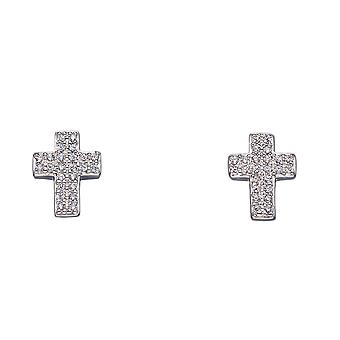 Fiorelli Silver Womens 925 Sterling Silver Pave Cub Zirconia Cross Stud Boucles d'oreilles