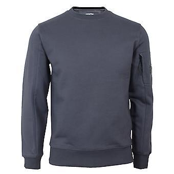 C.p. company men's blue diagonal raised fleece sweatshirt