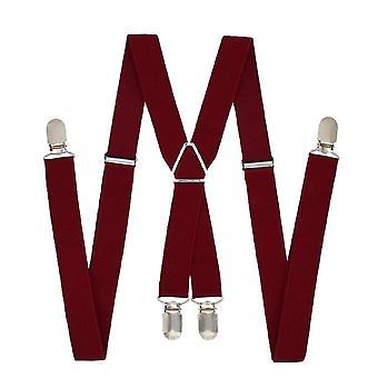 1-Zoll Hosenträger Polyester elastische nerisch Erwachsene Gürtel 4 Clips-Männer.