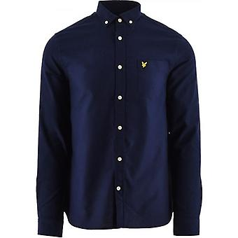 Lyle & Scott Navy Regular Fit Kevyt Oxford Paita
