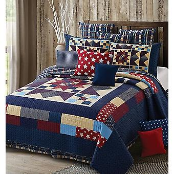 Spura Home 3-Piece Bedspread Nine Patch Star Midnight Printed Quilt Set