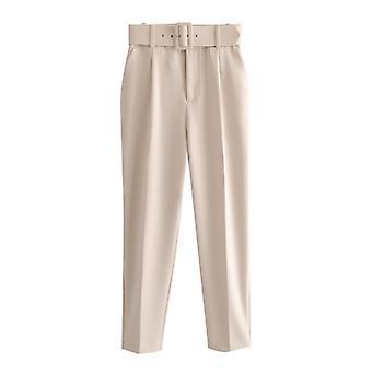 Femmes mode taille haute avec ceinture Vintage Zipper Fly Pocket Pant