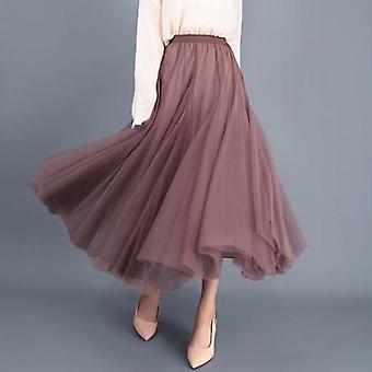 Autumn Tulle Skirt, Long Skirts, Womens Elegant Maxi