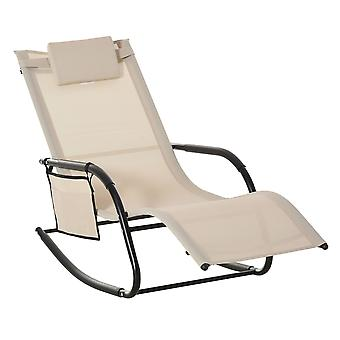 Outsunny Breathable Mesh Rocking Chair Patio Rocker Lounge for Indoor & Outdoor Recliner Seat w/ Removable Headrest for Garden and Patio Cream White
