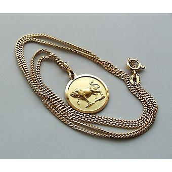 Gold necklace with bull pendant
