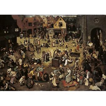 Der Kampf zwischen Karneval und Fastenzeit 1559 Pieter Bruegel der ältere Öl auf Holz-Panel Kunsthistorisches Museum Vienna Austria Poster drucken