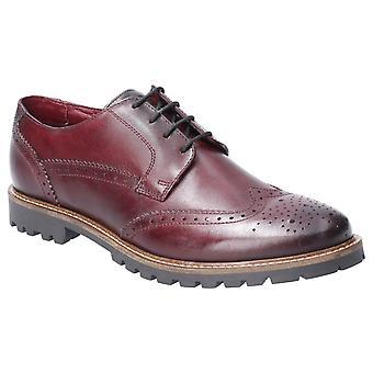 Base Grundy Washed Mens Leather Formal Shoes Bordo UK Size