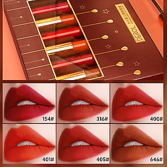 6 Color Matte Lip Gloss Suit Waterproof No Fading Long-lasting Moist Lipstick Brighten Lip Color Sexy Velvety Lip Gloss