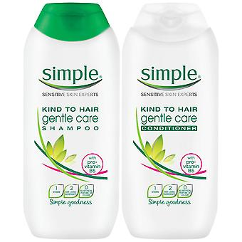 200ml Simple Kind to Hair GentleCleansing Shampoo & Conditionneur DuoWithVitaminB5