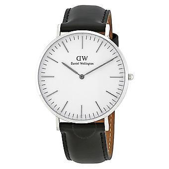 Daniel Wellington Sheffield silver dial cuero negro hombres's Reloj DW00100020