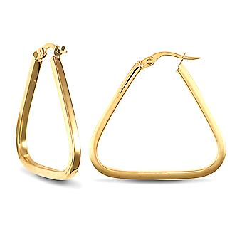 Jewelco London Ladies 9ct Yellow Gold Square Tube Triangle 2mm Hoop Brincos