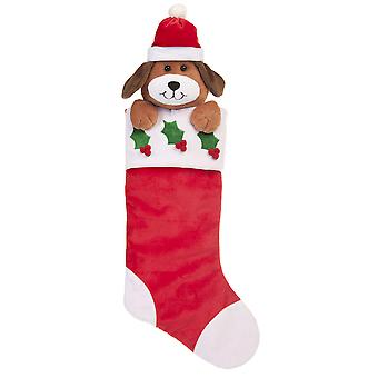 60cm Red and White Christmas Stocking with Dog
