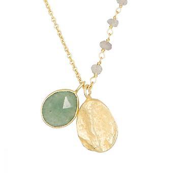 Gyllene halsband, grön aventurin och labradorit