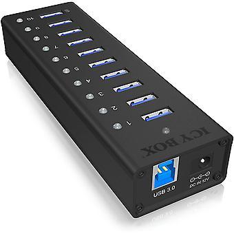 FengChun IB-AC6110 10-Fach USB 3.0 Hub mit Netzteil (12V/4A), Ladeport, Voll-Aluminium,