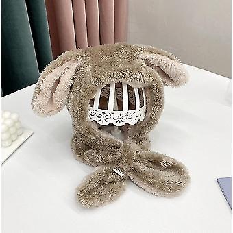 Jedna velikost khaki králičí klobouk ucho pohybující se skákací klobouk legrační králičí plyšový klobouk čepice pro děti x4357