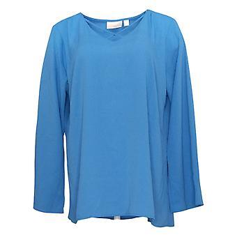 Belle by Kim Gravel Women's Top Large Cross Front Blouse Blue A305599