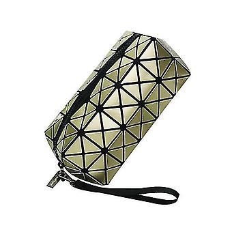 Geometric Luminous Purses  For Women , Holographic Reflective Cosmetic Bag(Gold)