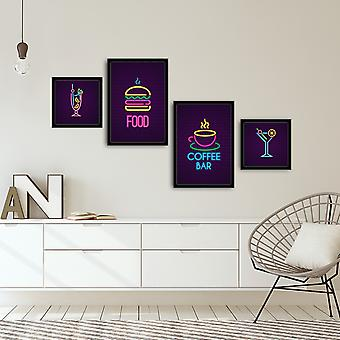 4PSCT-11 Flerfärgad dekorativ inramad MDF-målning (4 stycken)