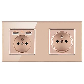 Eu 2 Gang Glass Panel Socket 16a Wall Power Outlet With 2 Usb Charging